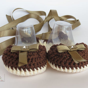 Ballerina Baby Girl Shoes, Paris collection, size 3 - 6 months, MADE TO ORDER