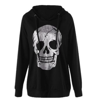 Punk Pullover Hoodie for Women Fashion Skull Print Casual Streetwear
