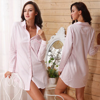 High Quality 2015 Jersey New Hot  Shirt Type 100% Cotton soft Long-sleeve Nightgown Stripe Sexy Female Sleepwear