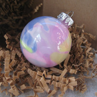 Glass Ornament, Pink, Purple, and Yellow, Hand painted glass, glow in the dark paint, OOAK, Christmas decoration