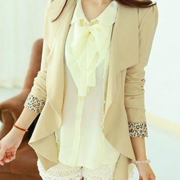 Leopard Print Wave Edge Slimming Refreshing Style Long Sleeves Blazer For Women not available