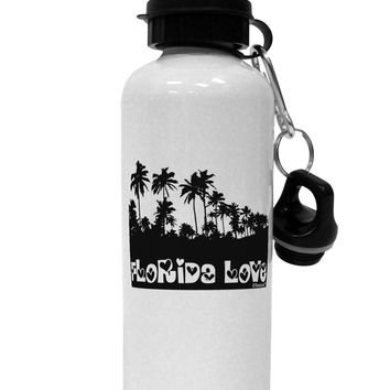 Florida Love - Palm Trees Cutout Design Aluminum 600ml Water Bottle by TooLoud