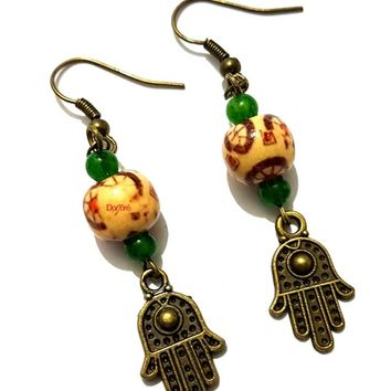 Handmade Bronze Colour Hamsa Hand of Fatima Charm with Brown Patterned Wood Beads Drop Earrings