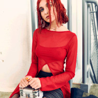 Internet Girl Dot Com Mesh Top - Red