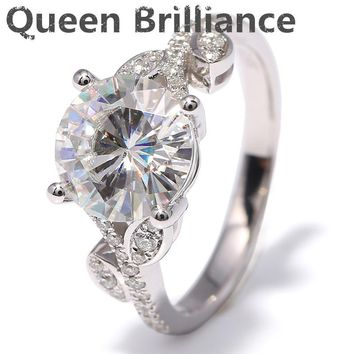 Ring. 3 Carat ct F Color Flower Shape Engagement Wedding Lab Grown Moissanite Diamond Ring With Diamond Accents 14K 585 White Gold