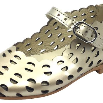 Luccini Girl's Open Cut Soft Gold Leather Mary Jane