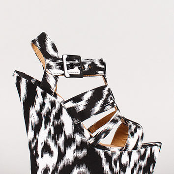 Dollhouse Two Tone Strappy Open Toe Platform Wedge