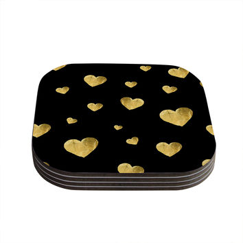"Robin Dickinson ""Floating Hearts"" Gold Black Coasters (Set of 4)"