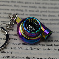 Creative Spinning New Charming Rainbow Color Turbo Turbocharger Keychain Key Chain Ring Keyring Keyfob