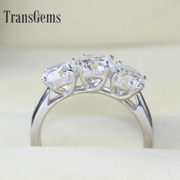 Transgems Genuine14k 585 White Gold Absolute High Quality 3 Carat 6.5mm NSCD Simulated Diamond Engagement Wedding Ring For Women