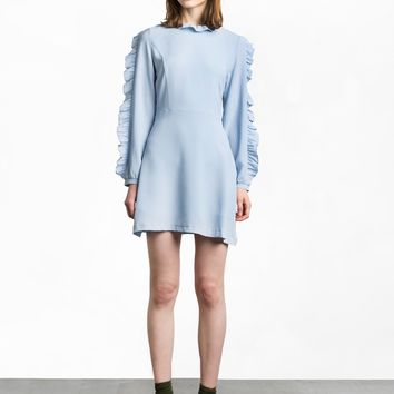 Blue Crepe Ruffled Sleeve Dress