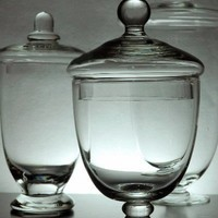 """Set of 3 Glass Apothecary Jars Clear Glass (10-3/8"""" - 8""""  - 7-1/2"""" tall)  $19.99"""