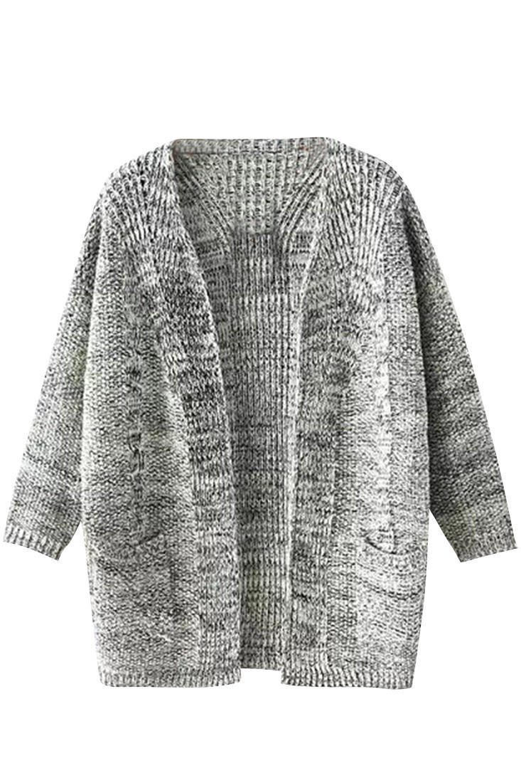 Deep Grey Open Front Cardigan Sweater from Opal Apparel | clothes