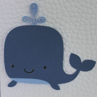 Handmade Blank Blue Whale Card with Envelope