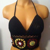 Crochet Festival Halter Top in Black and Multicolor Square