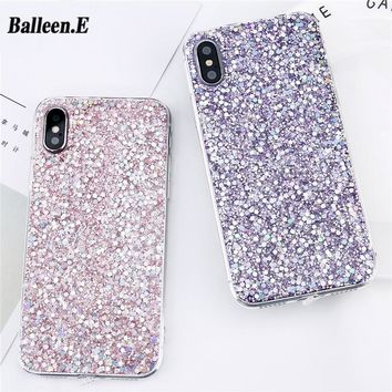 Balleen.E Case For iPhone X 8 7 6 6s Plus 5 5s SE Candy Shining Powder Sequins Glitter Soft TPU Phone Cases Back Cover Capa