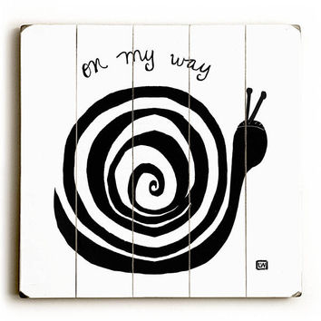On My Way Snail by Artist Lisa Weedn Wood Sign