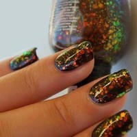 2 New PCS Kleancolor ♥ CHUNKY HOLO BLACK & BLACK ♥ Nail Polish FASHION Set