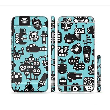 The Teal & Black Toon Robots Sectioned Skin Series for the Apple iPhone 6s Plus