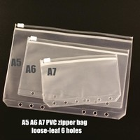 A5 A6 A7 PVC zipper bag pouch bags card bills EDGE bags loose-leaf plastic card holder pocket 2pcs/pack