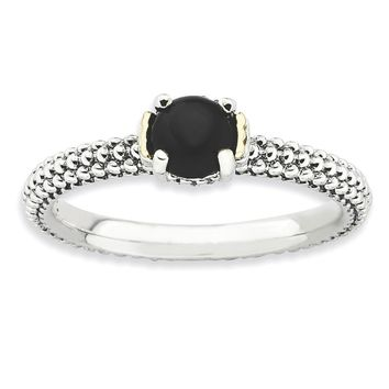Sterling Silver & 14k Gold Stackable Expressions Onyx Antiqued Ring