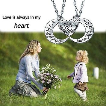 "Mother Daughter Heart Silver Necklace ""I Love You To The Moon and Back"" (2 pcs 1 set)"