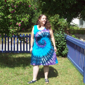 Tie Dye Dress S M L XL 2X 3XL- Adult and Plus Size- River Tie Dye dress