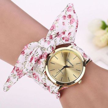 ac NOOW2 relojes mujer 2017 Womens Floral Jacquard Cloth Quartz Bracelet Watch Wristwatch Cloth fabric Watch vrouwen horloge