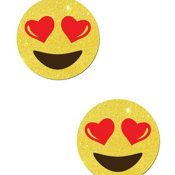 EMOJI: HEART EYES ON YELLOW GLITTER NIPPLE PASTIES