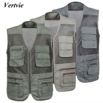 2018 Multi-pockets Middle-aged And Quick-Drying Mens Vest Outdoor Fishing Vests Breathable Mesh Jackets Photography Hiking Vests
