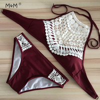 2017 Sexy Women Swimsuit Crochet Top Bikinis Set High Neck Halter Bikini Swimwear Summer Beach Swim Wear Bathing Suit Biquini