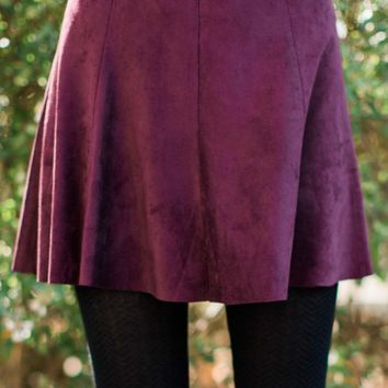 BB Dakota Kimber Faux Suede Skirt In Aubergine