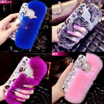 Luxury Genuine Fluffy Rabbit Fur Phone Case For iPhone 4 4s 5 5s 6 6s 7 8 Plus X XS Bling Diamond Rhinestone Cover Coque Fundas