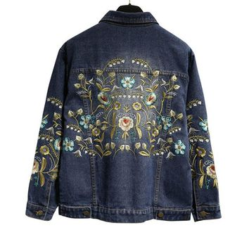 Boho Plus Size Beautifu Floral Embroidery Denim Jacket