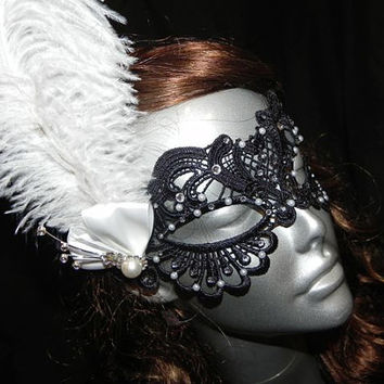 Soft Lace Black Masquerade Mask with Feathers, Clear Stones and Pearl Accents