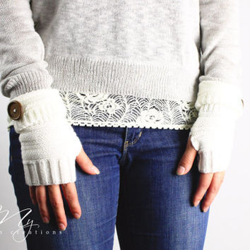Ivory Knit Fingerless gloves boho arm warmers womens accessory knitted button arm warmers for women and girls