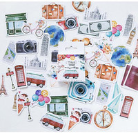 Travel stickers, kawaii stickers, journal notebook scrapbooking stickers. 45 pieces. Photo camera, phone booth, bicycle