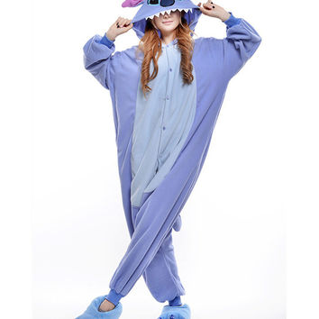 Unisex Adult Pajamas  Cosplay Costume Animal Onesuit Sleepwear Suit   blue  stitch