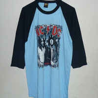 ACDC Tshirt  Punk Rock Music Tree rock and roll singer band baseball tee men women t shirts Baby blue color shirt