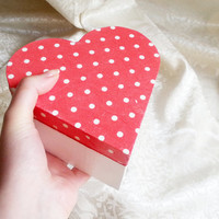 Red white trinket keepsake heart box decoupage polka dots gift for her love valentines keepsake box small wooden box