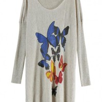 Butterfly Pattern Cashmere Sweater Beige$35.00