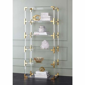"""Hanna 70 3/4"""" Clear Acrylic and Gold 6-Shelf Open Bookcase - #32P94 