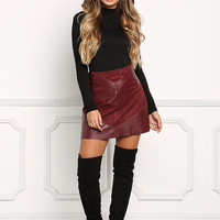 Burgundy Leatherette & Suedette Flared Skirt