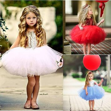 Princess Girl Baby Fancy Wedding Dress Sleeveless Sequins Party Kids Dresses For Girls Tutu Tulle Back Hollow Out Formal Costume