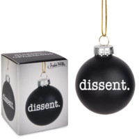 Dissent Glass Holiday Ornament in Black