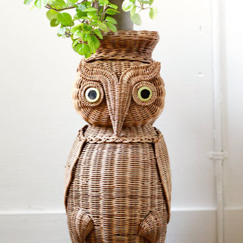 Vintage Wicker Side Table or Owl Plant Stand - Rattan Boho Chic