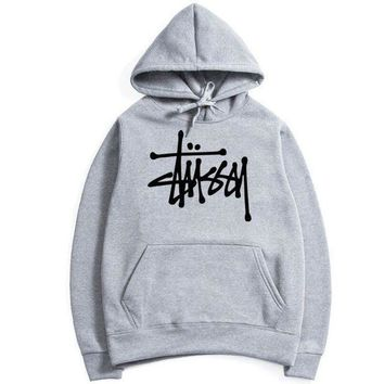 Stussy Casual Sport Running Hooded Top Sweater Sweatshirt Hoodie Grey