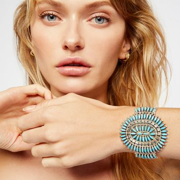Free People Sterling Turquoise Needlepoint Cuff