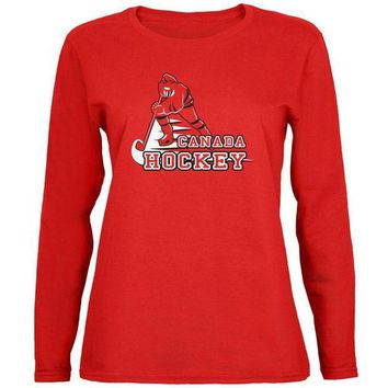 ONETOW Fast Hockey Player Country Canada Womens Long Sleeve T Shirt