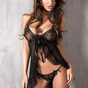 Hot Deal Cute On Sale Stylish Sexy Lace Spaghetti Strap Dress Set Exotic Lingerie [6595906371]